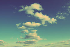Sky with clouds background - vintage retro style Stock Photos
