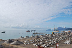 Sky with clouds and beach in Turkey. Royalty Free Stock Images