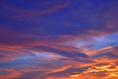 The sky with clouds beatiful sunrise background Stock Images