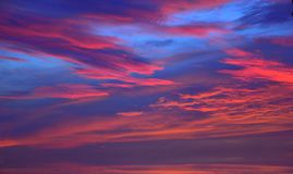 The sky with clouds beatiful sunrise background Stock Photos