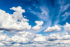 Sky clouds. Beautiful white clouds in the sky background Stock Images