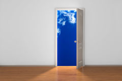 Sky with clouds behind door. Blue sky with clouds behind door in 3D Royalty Free Stock Photo