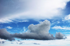 Sky and clouds. Blue sky background with tiny clouds Stock Images