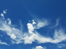 Sky and clouds. Blue and white nature Royalty Free Stock Images