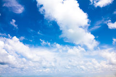 Sky with clouds in clear weather and fresh day with space Stock Images