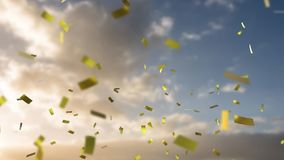 Sky and clouds with confetti. Animation of sky and clouds with golden confetti falling stock illustration
