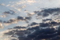Sky with clouds at dawn sun.  Stock Images
