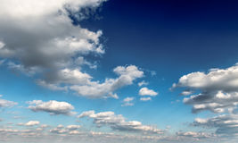 Sky with clouds. Deep blue sky with clouds. View of heavens above Royalty Free Stock Photos