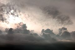 Sky and clouds. Clouds in the sky drifting away in a light breeze Royalty Free Stock Image