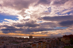 Sky, clouds, either. Estepona city, Andalusia, Spain. Sunny day at the beach Royalty Free Stock Photos