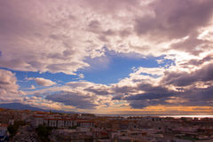 Sky, clouds, either. Estepona city, Andalusia, Spain. Sunny day at the beach Stock Photos