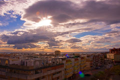 Sky, clouds, either. Estepona city, Andalusia, Spain. Sunny day at the beach Royalty Free Stock Photography
