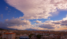 Sky, clouds, either. Estepona city, Andalusia, Spain. Sunny day at the beach Stock Photography