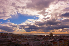 Sky, clouds, either. Estepona city, Andalusia, Spain. Sunny day at the beach Stock Photo