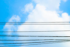 Sky Clouds and electric wire Royalty Free Stock Image
