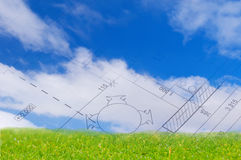 Sky with clouds and the floor plan of a house blueprint royalty free stock photography