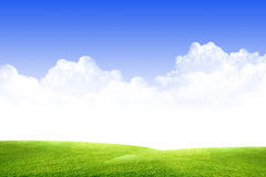 Sky, clouds and grass Royalty Free Stock Images