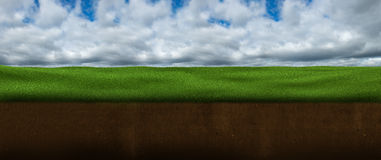 Sky, Clouds, Grass, Ground, Underground Stock Images