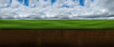 Sky, Clouds, Grass, Ground, Underground Stock Images