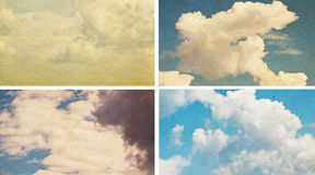 Sky and clouds on grunge paper texture Royalty Free Stock Photos