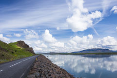 Sky with clouds and hills landscape in Iceland. Beautiful nature in summer evening in Iceland Stock Image