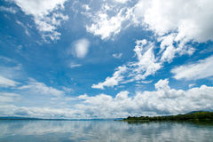 Sky with clouds. On lake landscape in summer Stock Photo