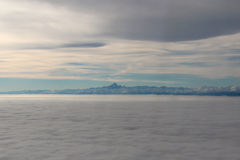 Sky, clouds and Mont Blanc. Aerial view. Stock Image