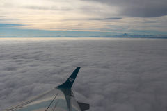 Sky, clouds and Mont Blanc. Aerial view. Stock Photography