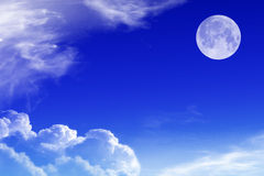 Sky with clouds and moon Royalty Free Stock Photos
