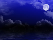 Sky with clouds and moon Royalty Free Stock Images
