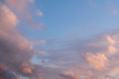 Sky with clouds and moon Stock Photos