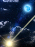 Sky  clouds moon  meteor Stock Photos