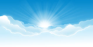 Sky with clouds. Morning sky with glowing clouds and rising sun with rays stock illustration
