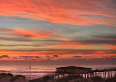 Sky and Clouds over Fishing Pier NC Coast Royalty Free Stock Photos