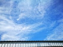 Sky and clouds over roof Royalty Free Stock Images