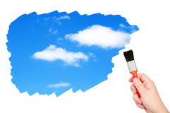 Sky with clouds painted brush. Royalty Free Stock Images