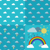 Sky with clouds, rain, sun and a rainbow arc Vector. Three weather pattern seamless sky with clouds, rain, lightning and thunderstorm and objects rainbow iris Royalty Free Stock Photos