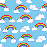 Sky clouds and rainbow seamless vector pattern Royalty Free Stock Photo
