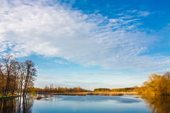 Sky and clouds reflection on Lake Royalty Free Stock Photo