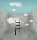 Sky and clouds in the room. Surreal room with wooden ladder and clouds and sky in the ceiling vector illustration