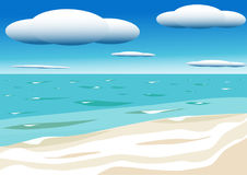 Sky with clouds and sea. Blue sea and sky with white clouds Royalty Free Stock Image