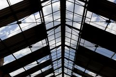 Old and degraded roof structure royalty free stock photography