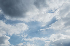 Sky clouds, sky with clouds and sun.  Royalty Free Stock Image