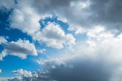Sky clouds spring sun  horizontal background Royalty Free Stock Photography