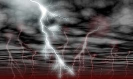 Sky Clouds and Storm Lightning stock illustration