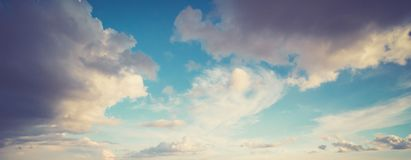 Sky and clouds summer panorama stock image