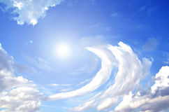 Sky with clouds and sun. Background basic blue clouds cloudy day flare fly forecast global royalty free stock images