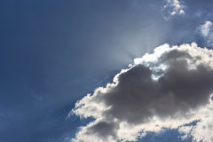 Sky with clouds and sun.  Stock Photo