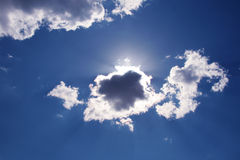 Sky,clouds and sun. Clouds and sun in the blue sky Stock Photography