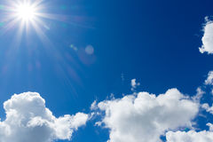 Sky with clouds and sun.  Stock Photography